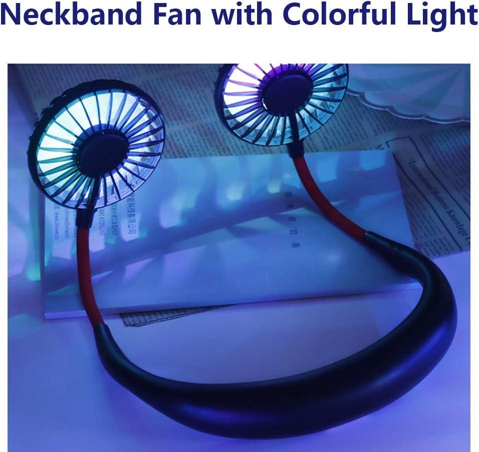PGYFIS Hand Free Neckband Fan with LED Light Portable Fan Personal Fan Neckblace Fan with Dual Wind Head Mini USB Battery Rechargeable Headphone Design Wearable Fan for Traveling Office Home Black