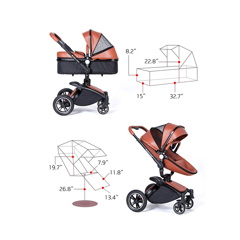 SpringBuds Shock-resistant Luxury High Landscape Folding Aluminum Alloy Frame Baby Stroller Infant Toddler Seat and Bassinet Combo-White by Springbuds (Image #5)