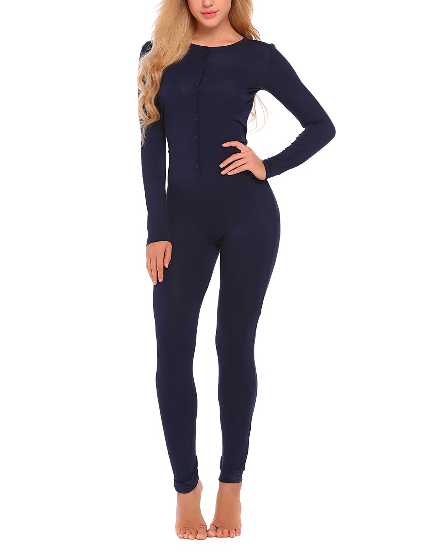 df31c70303a0 Ekouaer Bandage One Piece Pajama Romper Underwear Set Long Sleeve Jumpsuit  Sleepwear for Women at Amazon Women s Clothing store
