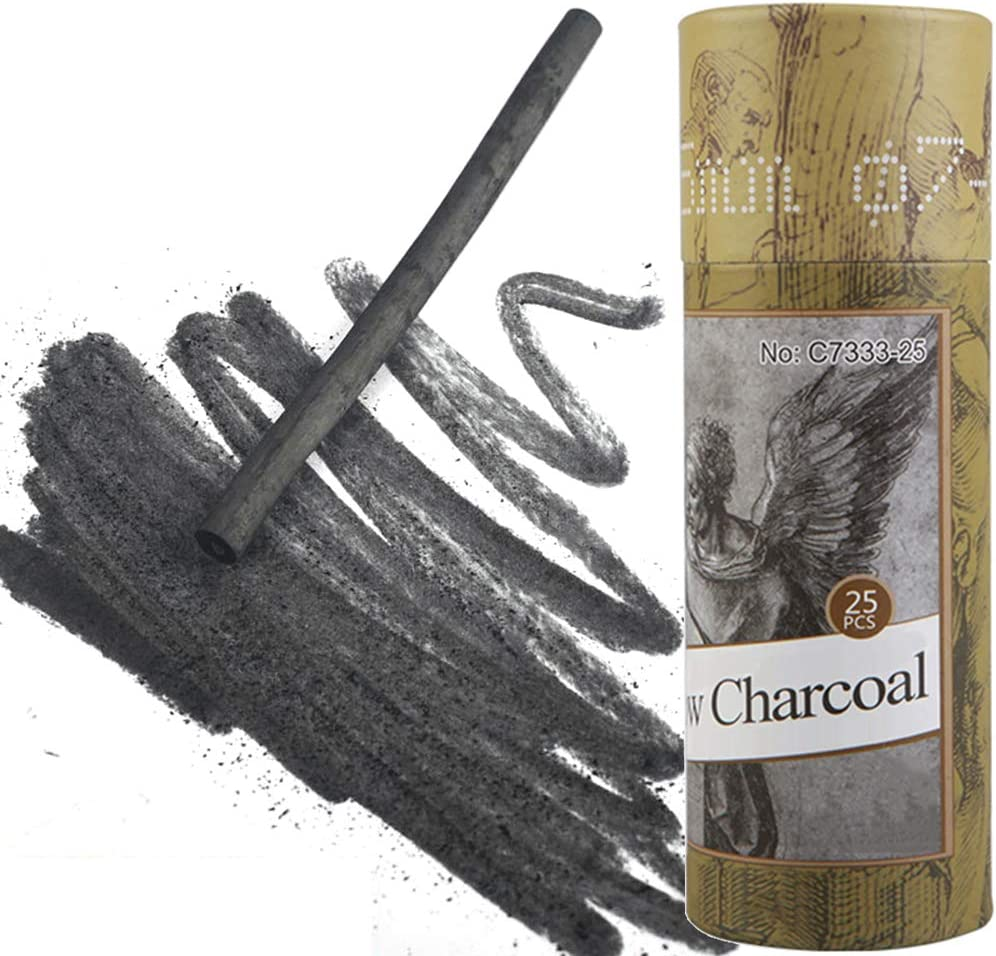 Approx 2-4mm Dia 25 Sticks MyArTool Artist Willow Charcoal Sticks for Sketching and Drawing