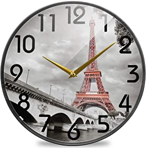 Naanle 3D Stylish Eiffel Tower Paris in Monochrome Style Round Wall Clock, 9.5 Inch Silent Battery Operated Quartz Analog Quiet Desk Clock for Home,Office,School,Library