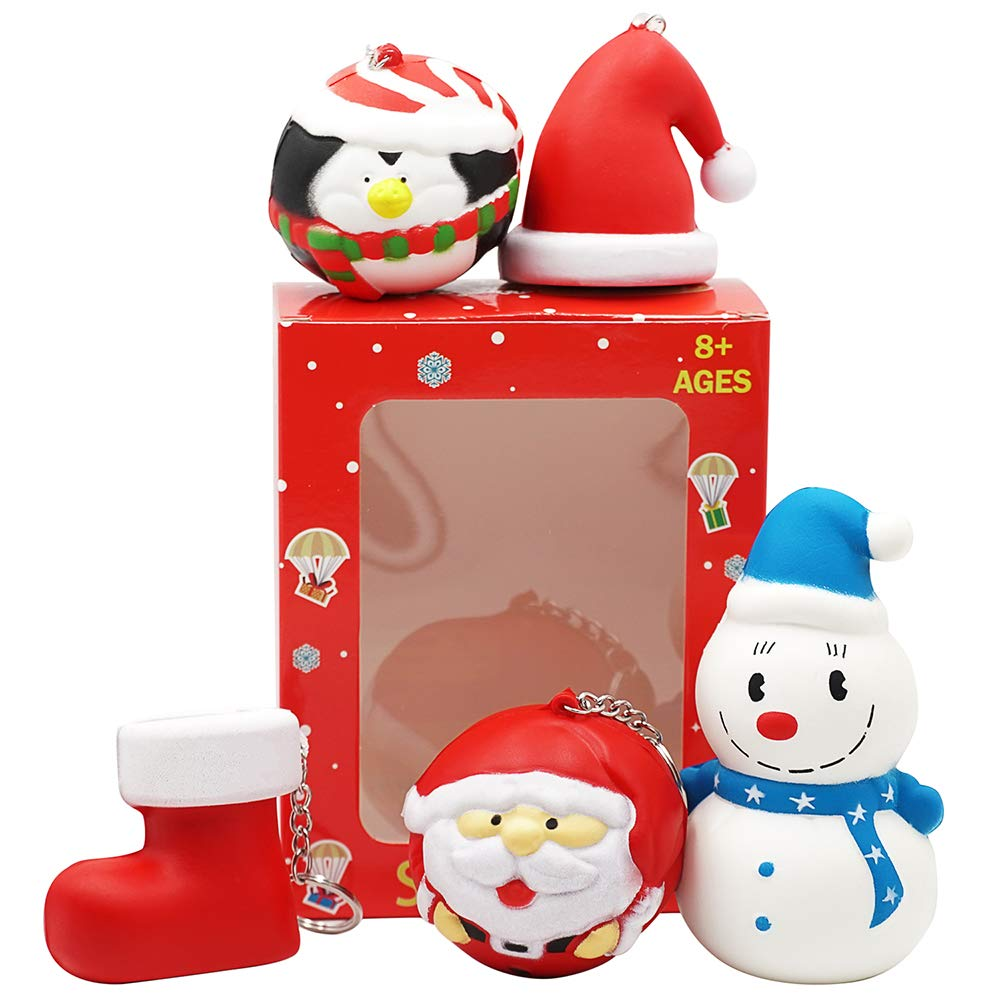 Christmas Squishies Pack Toddler Toy – CREFUN (2018 Limited Edition) Gifts for Christmas Tree Ornament, Kid Toy, Stress Relief, Including 5 Pcs: Candy Cane Bell Gift Bag Apple Snowman Ball, Super Slow LN85004
