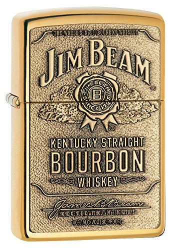 Zippo Jim Beam Bourbon Label Emblem Pocket Lighter, High Polish Brass