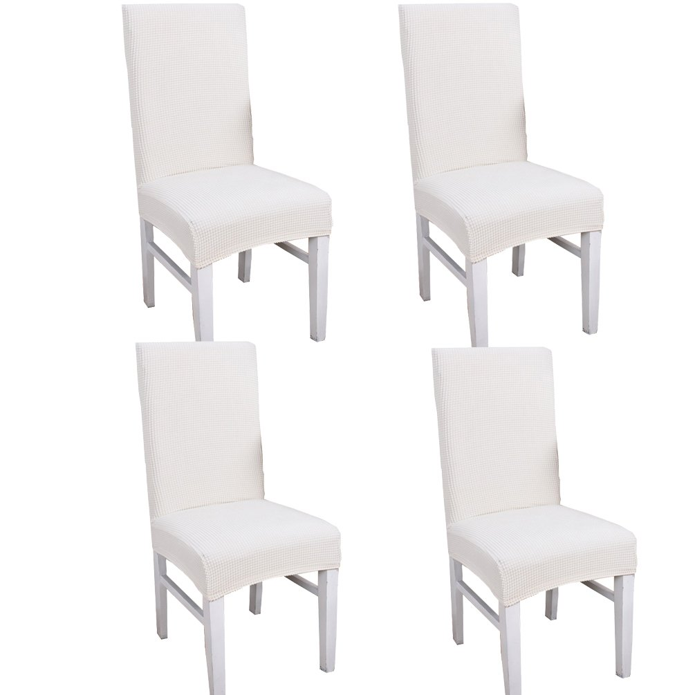 JMYDecor Spandex Jacquard Stretch Removable Washable Dining Room Chair Cover Protector Seat Slipcovers Set of 4 J-L004-J-Cof-4P