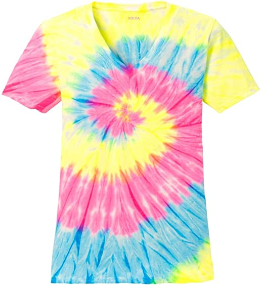 474a9100752d Joe s USA Koloa Ladies Colorful Tie-Dye V-Neck Tees in 10 Colors Sizes   XS-4XL at Amazon Women s Clothing store