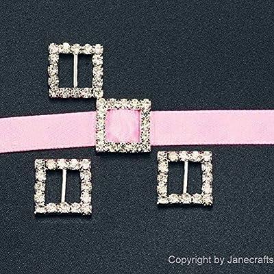 CYNDIE Hot Sale New 50 Pcs Square Rhinestone Buckle Invitation Ribbon Slider for Wedding Supplies
