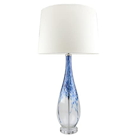 Contemporary Blue Glass Lamp,25.5u0026quot; Aqua Twisted Glass Table Lamps ,Hand Crafted