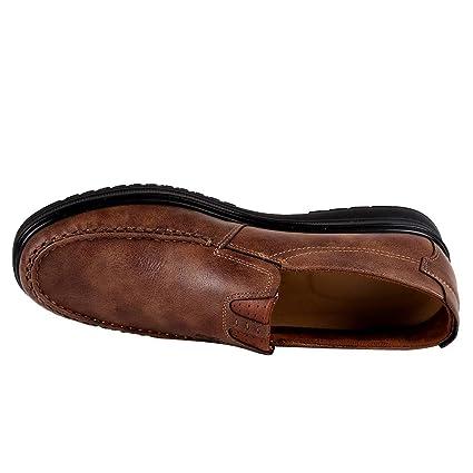 JiaMeng Zapatos de Cuero Casual de los Hombres Zapatos Planos con Cordones Hombre La última Moda de Negocios Transpirable Suave Inferior Zapatos Casuales: ...