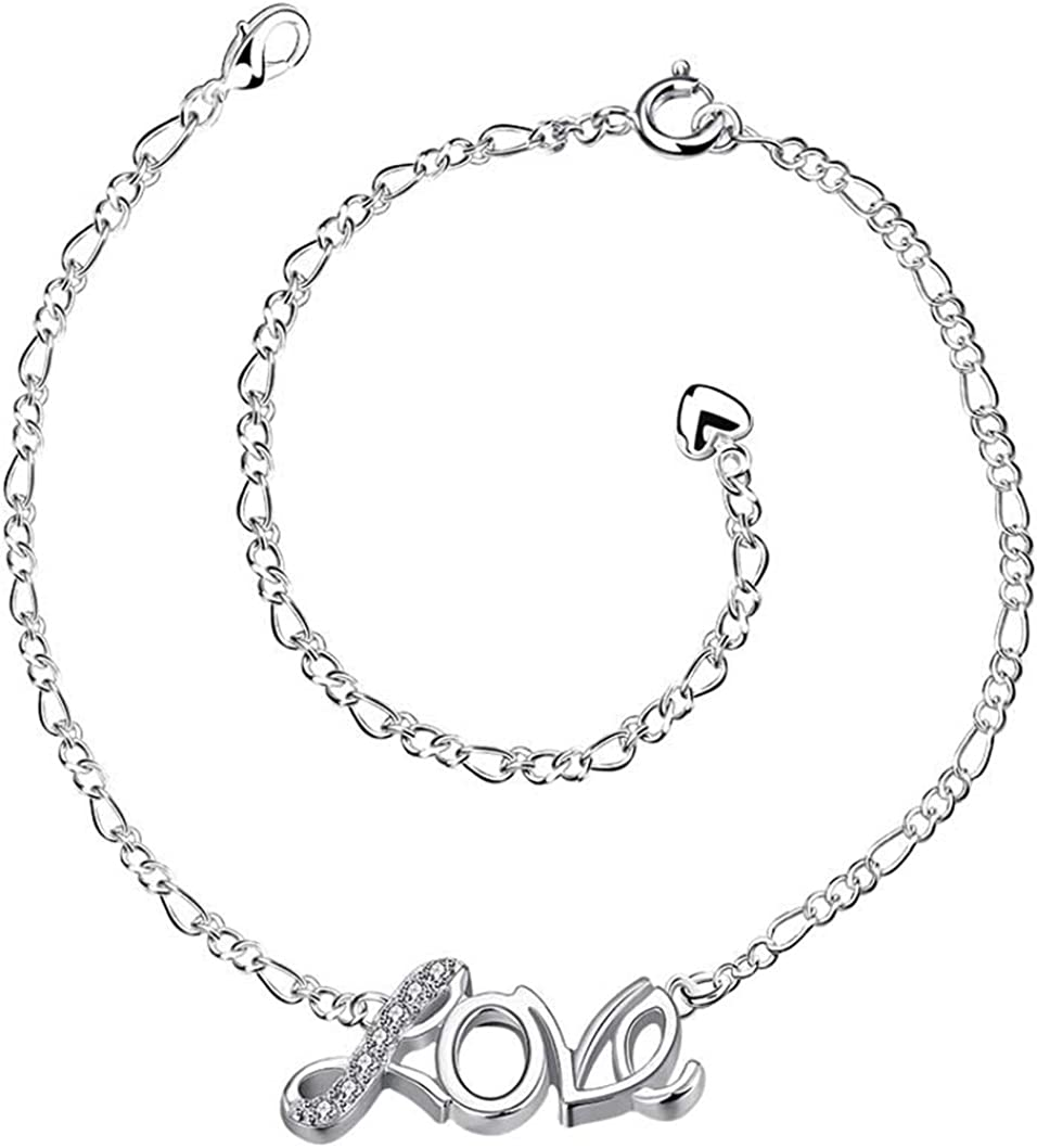 Goldenchen 925 Sterling Silver Plated Love Cubic Zirconia Crystal Adjustable Chain Anklet