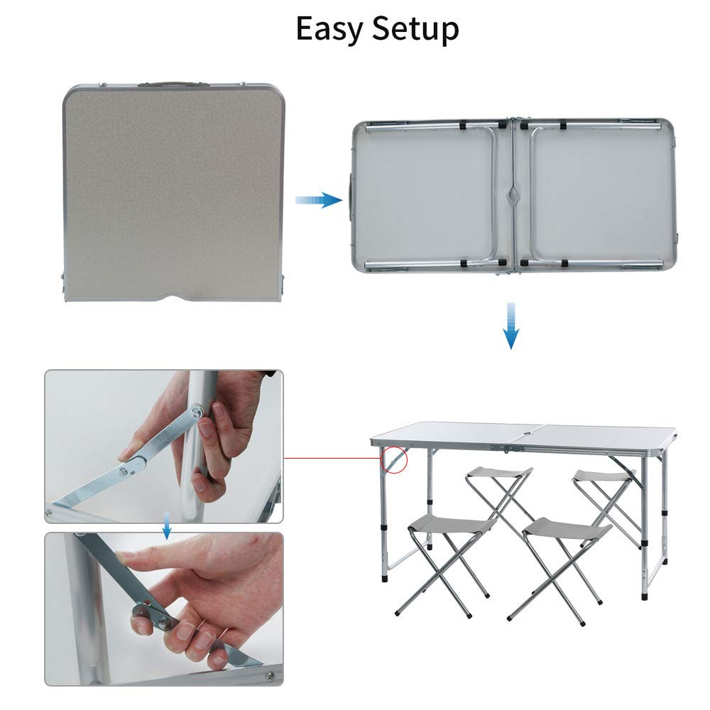 Ship from USA Portable Camping Table for 4 People Folding Aluminum Picnic Party Table//Outdoor with Umbrella Hole White Hstore Desk Send 4 stools
