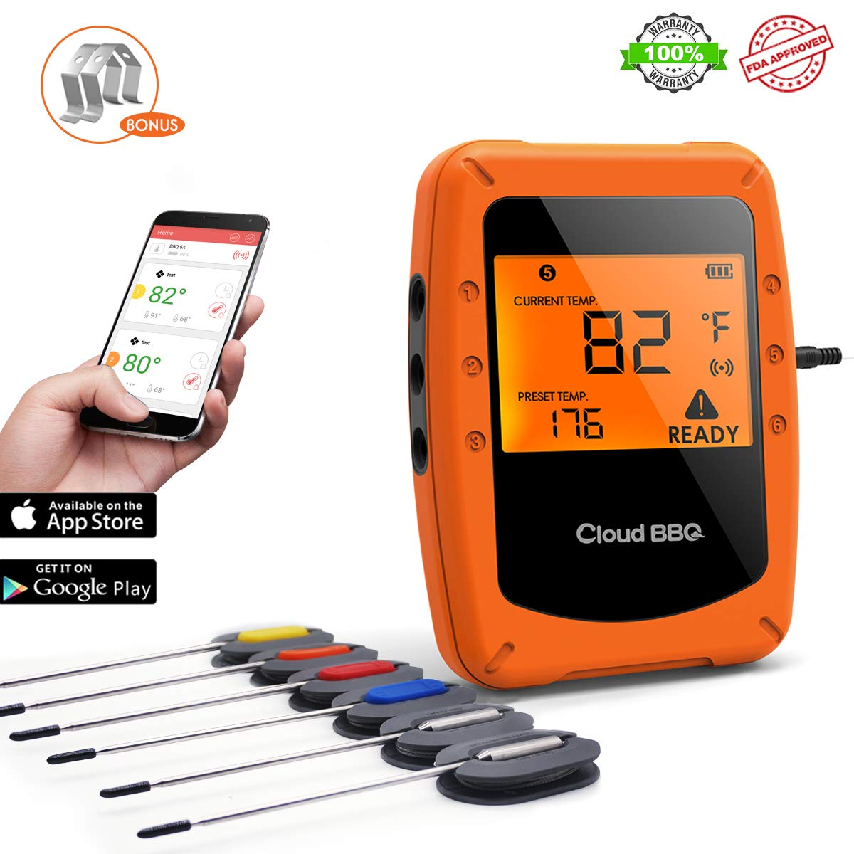 BINLAN BBQ Thermometer Bluetooth Wireless Digital Meat Food Thermometer Remote with 6 Probes for Smoker Grill, Oven, Instant Read on Phone App Supporting iOS & Android - Guaranteed