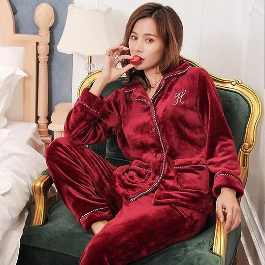 Bayrick Pijama Mujer Algodon Invierno,Otoño e Invierno Coral Fleece Manga Larga Damas Pijamas Traje Cardigan Casual Wear Dos Piezas pjs Set-XL_Vino Tinto y Blanco y Negro: Amazon.es: Hogar