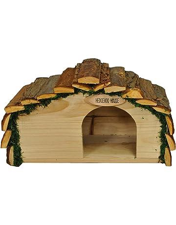 Selection Casa de erizos de madera con techo de corteza