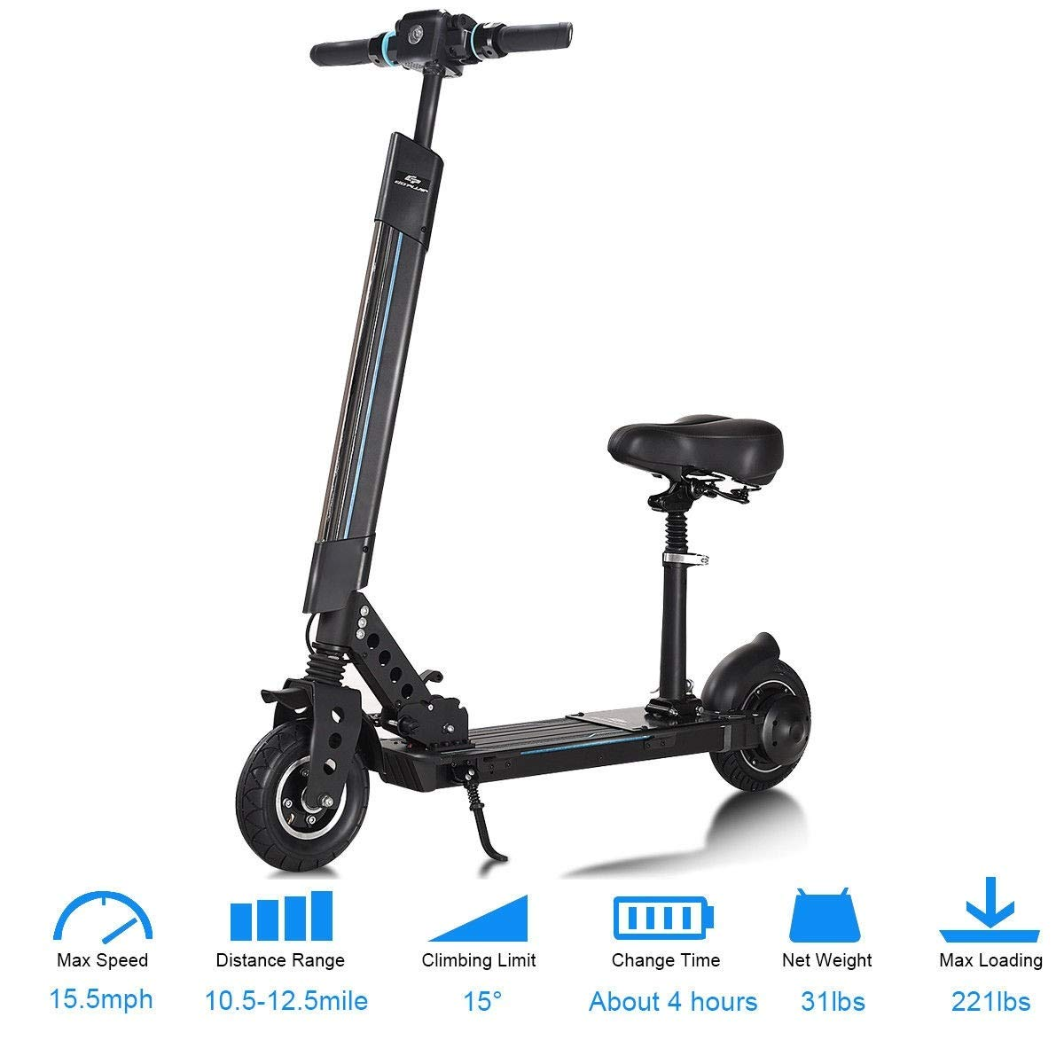 S AFSTAR Electric Scooter Mobility Foldable E-Bike Bicycle Kick Scooter with Removable Seat, LED Light, Bluetooth Music Play Function for Adults n Kids (Black)