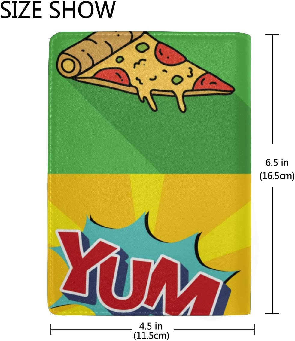 Passport Covers For Kids Delicious Pizza Pop Art Comics Stylish Pu Leather Travel Accessories Passport Holder Case For Men For Women Men