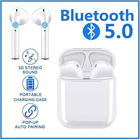Touch Headset Bluetooth 5.0 Earbuds Wireless Headphones Hi-Fi Sound Bluetooth Headset with Mini Charging Case 24Hrs Extended Playtime Pop-Up Pairing for iPhone IPX11 Apple Airpods Sports Earphone