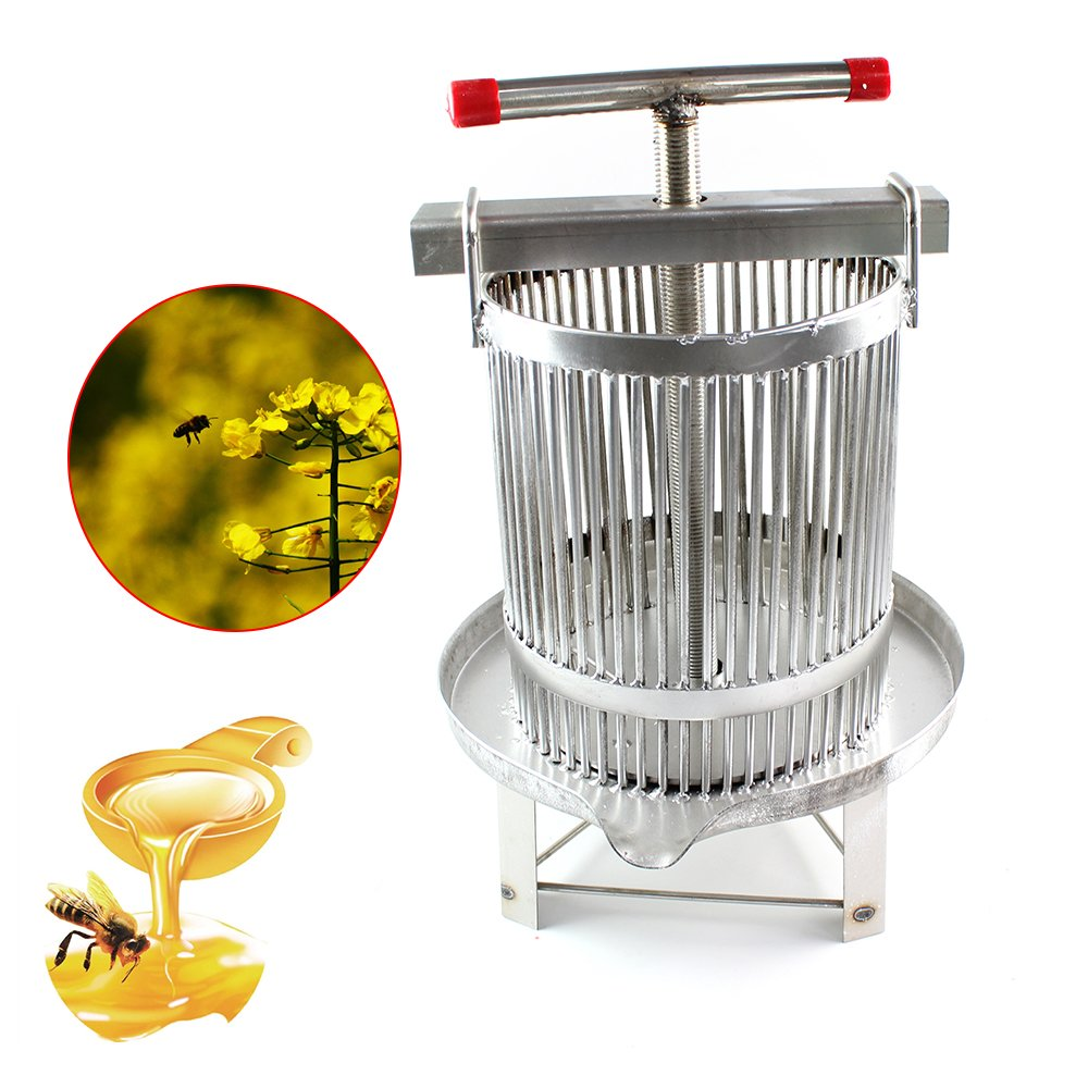 PRIT2016 Universal Household Manual Bee Honey Press Presser Wax Machine for Beekeeping Agriculture Vertical Stripe Silver