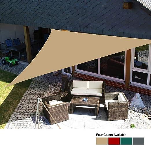 SAYOJIN Velas de Sombra al Aire Libre, Jardín, Piscina, Patio, Cobertizo de protección Solar de sombrilla de Fiesta, Protección contra el Agua y UV Pontón Cuerda Libre (3.6x3.6x3.6m, Arena): Amazon.es: Jardín