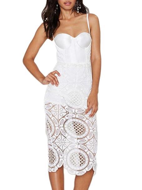 soayle para espaguetis correas vendaje de encaje bodycon vestido de fiesta - Blanco -