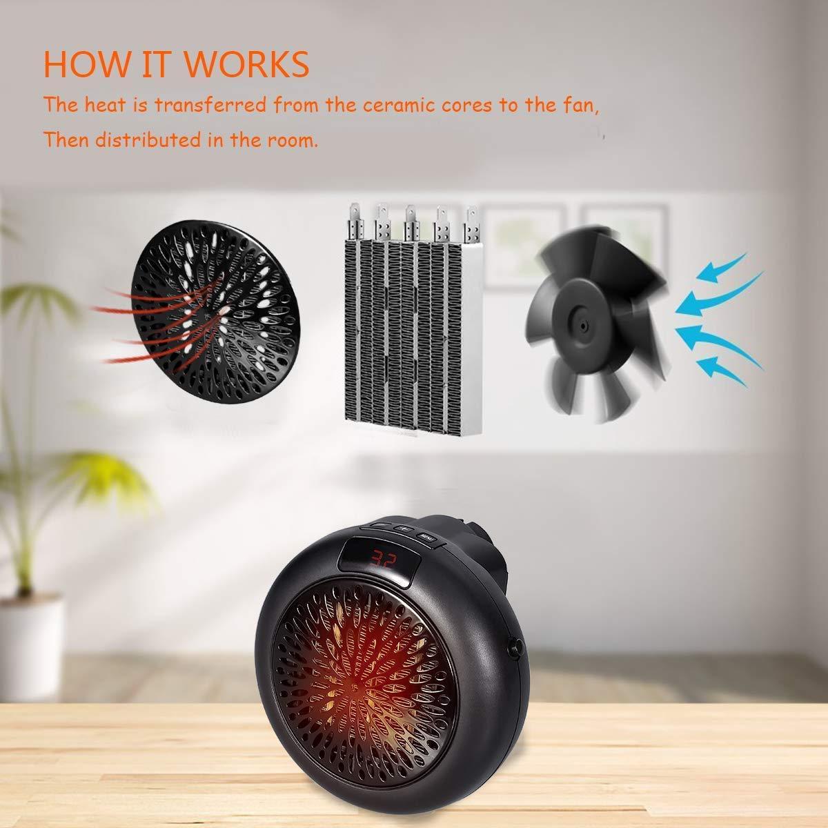 YOOUOOK Mini Fan Riscaldatore Elettrico,Desktop Household Riscaldatore,Kitchen Riscaldatore Portatile,Stufa Radiatore Warmer Machine,Riscaldatore Forno Elettrico Bianco