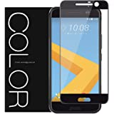 [Full Cover] HTC 10 Screen Protector, G-Color Tempered Glass Screen Protector[Full Coverage][0.2mm,2.5D] [Bubble-Free] [9H Hardness]for HTC 10 [Lifetime Warranty] (BLACK)