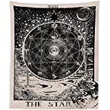 """Letsroam Tarot Star Tapestry Wall Tapestry Wall Hanging Psychedelic Tapestry Celestial Tapestry Medieval Astrology Decor Wall Tapestry Bedroom Living Room College Dorm Room (51""""x59"""")"""
