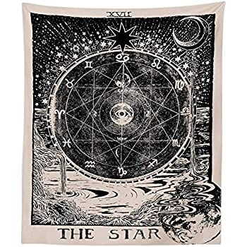 INTHouse Tarot Star Tapestry Wall Tapestry Wall Hanging Psychedelic Tapestry Celestial Tapestry Medieval Tarot Decor Wall Tapestry for Bedroom Living Room College Dorm Room (The Star, 51