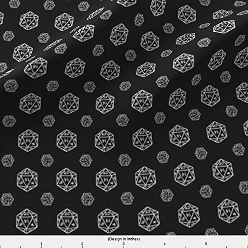 Spoonflower D20 Fabric - Black D20 - Designed By Pi-Ratical - Fabric Printed By On Basic Cotton Ultra Fabric By The (Dice Fabric)