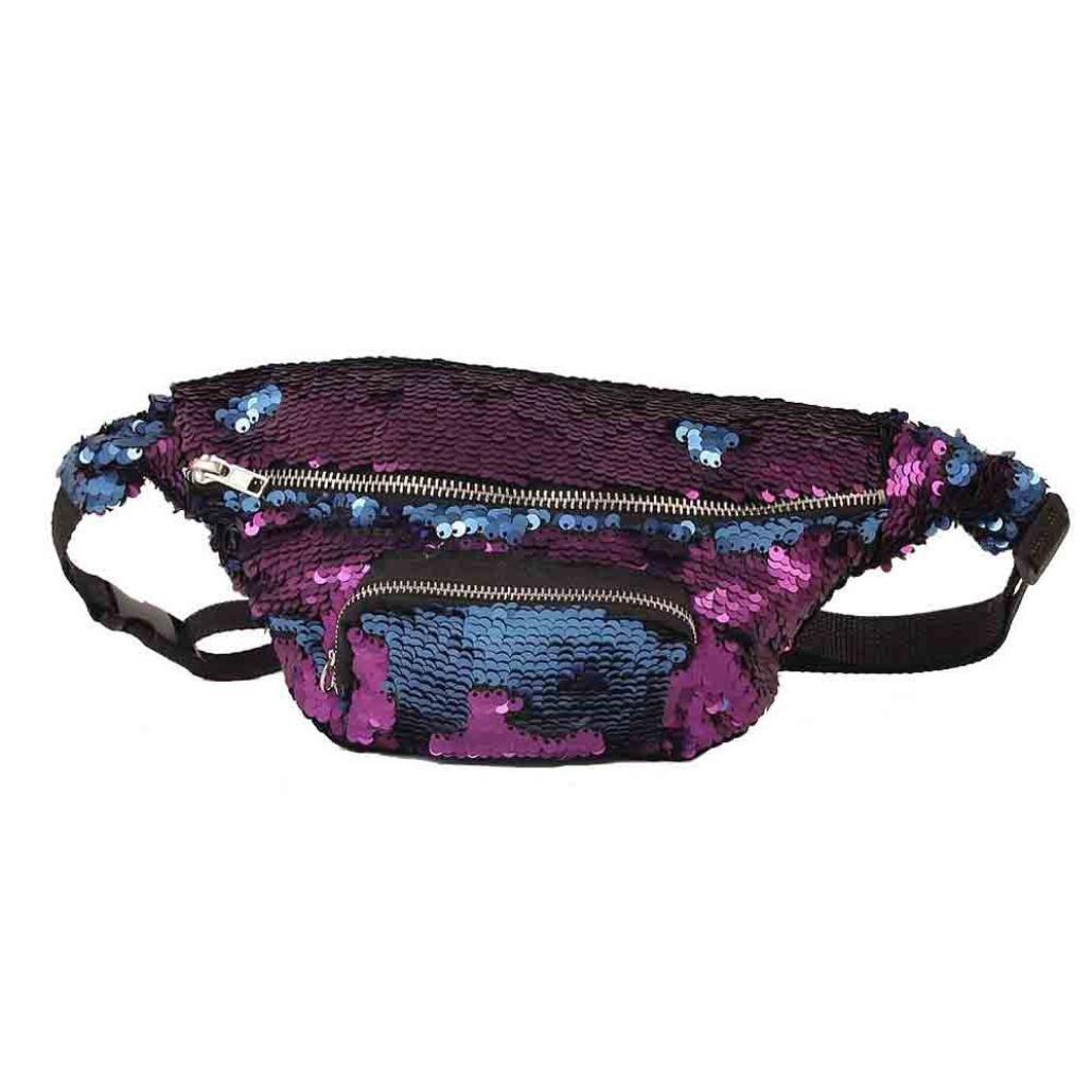 Pink Sujing Sequins Waist Pack Casual Outdoor Sports Waist Bag Double Color Chest Bag Shoulder Bag