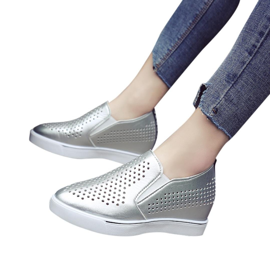 AIMTOPPY HOT Sale Women's Solid Color Hollow Out Increasing Wedges Raised Pointed Shoes Casual Shoes (US:5.5, Silver)