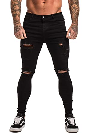 5913771466a GINGTTO Skinny Jeans for Men Stretch Slim Fit Ripped Distressed at ...
