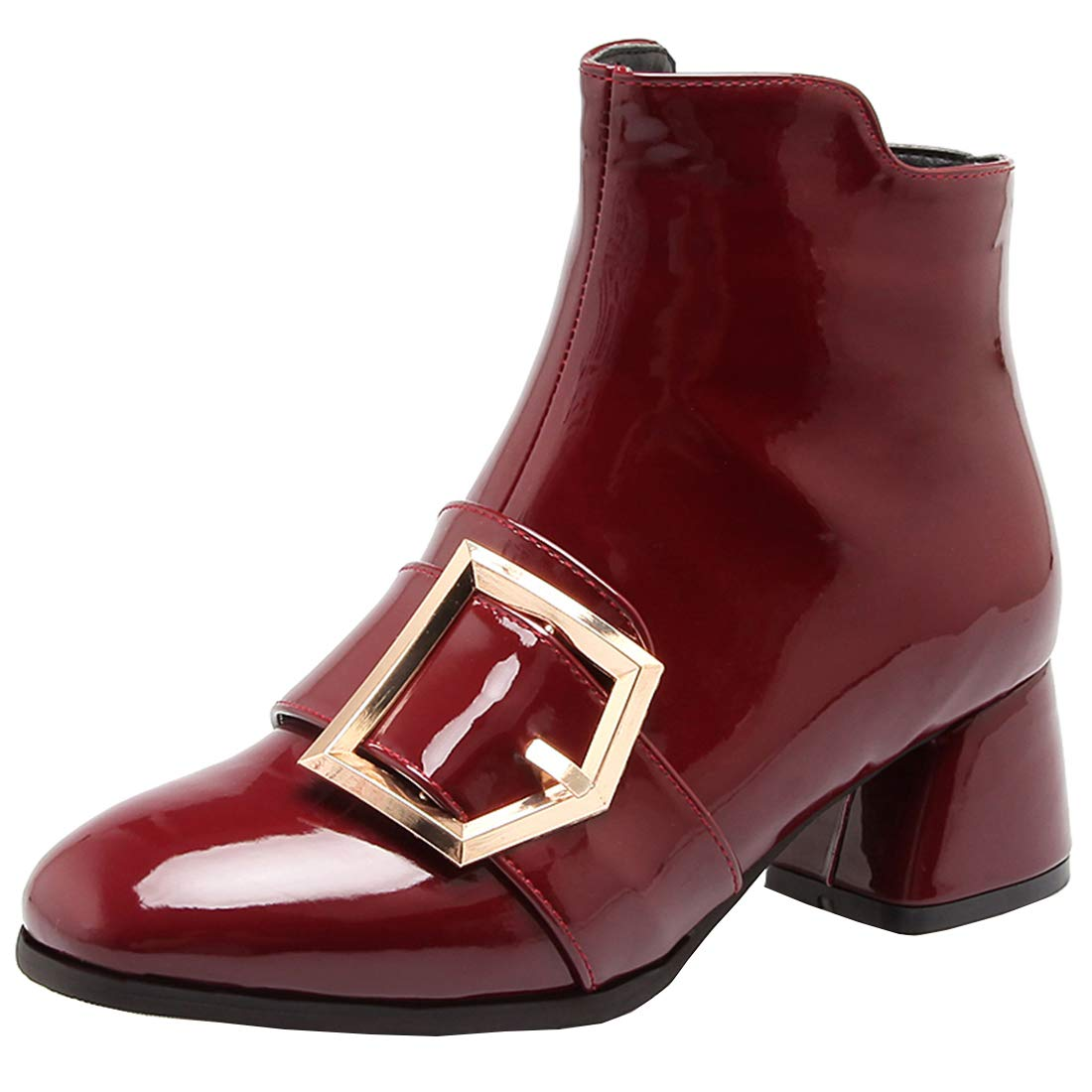 YE Boucles Bottes Vernies Femme Zip Courtes Chaude Mi-Talon Bloc Chunky Ankle Boots Bottines Boucles Chunky Heels Chaussures Zip Hiver Winter Shoes Vin Rouge adab51a - latesttechnology.space