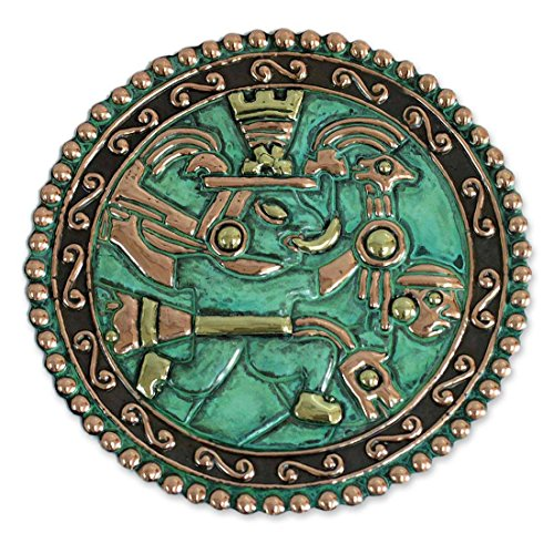 Metallic Messenger - NOVICA Decorative Archaeological Copper and Bronze Plate, Metallic and Green, Chasqui Messenger'