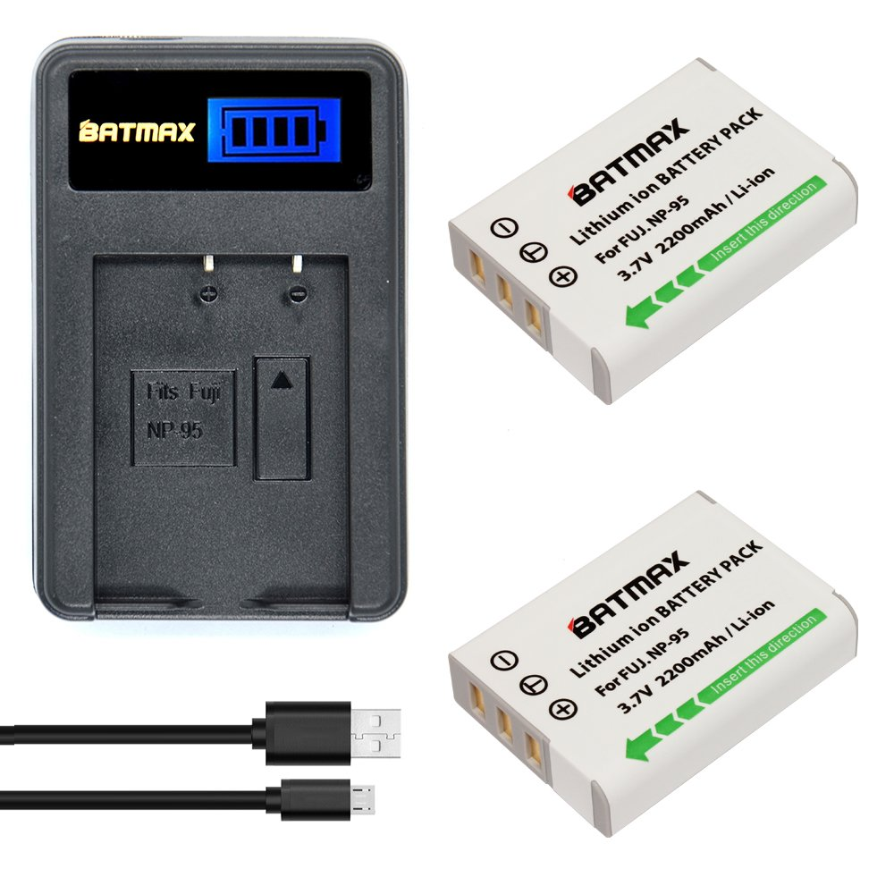 Batmax 2 Packs NP-95 NP 95 Rechargeable Li-Ion Batteries + LCD USB Charger for Fujifilm NP-95 Battery,Fuji X-100,FinePix F30,FinePix REAL 3D W1,X100S,X-S1 Digital Cameras