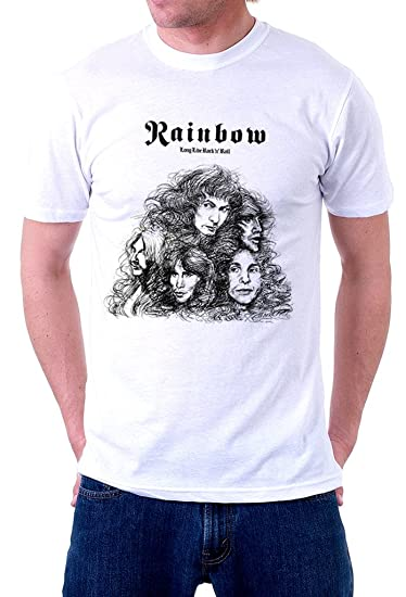 54eb6df98 Image Unavailable. Image not available for. Color: Rainbow Band Long Live  Rock N' Roll Logo Men's T Shirt