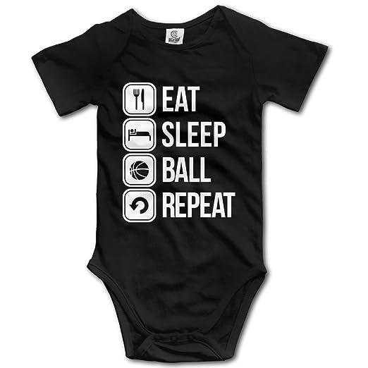 57538265eed Amazon.com  Unisex Eat Sleep Basketball Repeat Baby Rompers Baby Onesie  Short Slev  Clothing