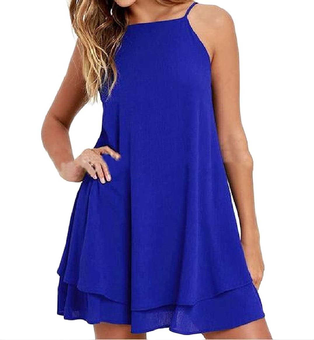 Comaba Womens Solid-Colored Sleeveless Summer Double-Layer Beach Dress