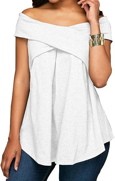 Blusa para Mujeres - Sin Hombros Top de Cross Criss Camiseta ...