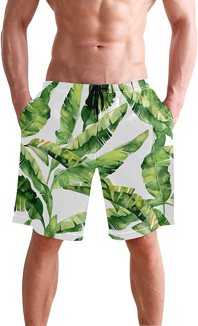 Mens Swim Trunks Quick Dry Summer Holiday Beach Shorts with Mesh Lining Abstract Facial Features Art Painting Beachwear