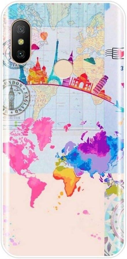 Carcasa De Teléfono,Luz Azul Cartoon Personalidad Mapa Del Mundo Estuche De Viaje para Xiaomi Mi A1 A2 8 Lite Se Moda Bonita Cubierta Posterior De Silicona Suave para Xiaomi Mi 5 5C 5S 5X 6 6X P