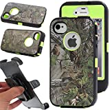 For iphone 4s Case, Kecko® Rugged Heavy Duty Shockproof Dirtproof Military Grade Drop Scratch Resistant Hybrid Bumper Full Body Protective Case with Belt Clip Holster and Built-in Screen Protective for iphone 4s. Camo Tree/Grass/Leaves on the Orange/Black/Green/Pink (Forest Green)