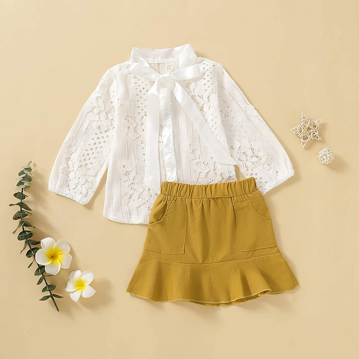 Floral Mesh Tutu Skirt Outfits Set puseky 2pcs//Set Infant Kids Girl Lace Short Sleeve Tops