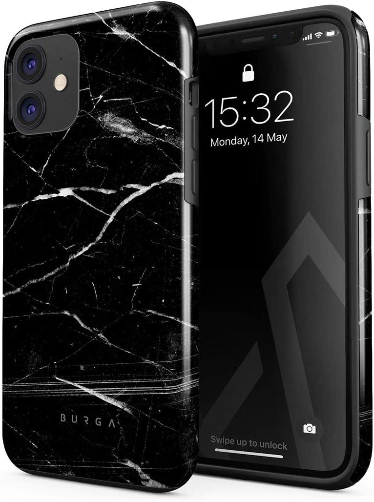 BURGA Phone Case Compatible with iPhone 11 - Noir Origin Black Marble Cute Case for Women Heavy Duty Shockproof Dual Layer Hard Shell + Silicone Protective Cover