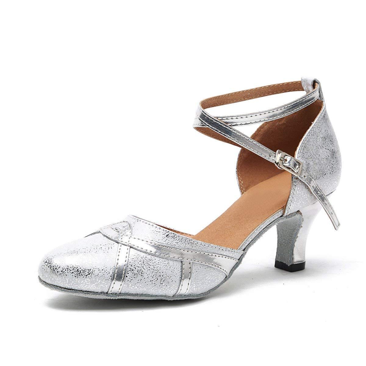 Qiusa Frauen 2,5 Heel Silber Synthetische Latin Salsa Tanzschuhe Hochzeit Pumps UK 6,5 (Farbe   - Größe   -)