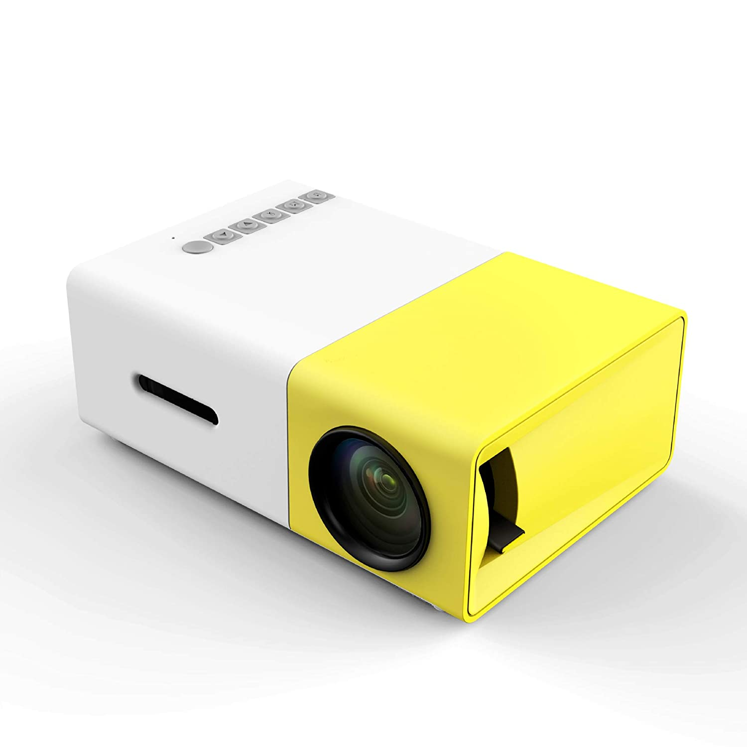 HKANG PA® Mini Proiettore, Proiettore Portatile LED per Home Entertainment Cinema con TV/AV/VGA/USB/HDMI,Yellow