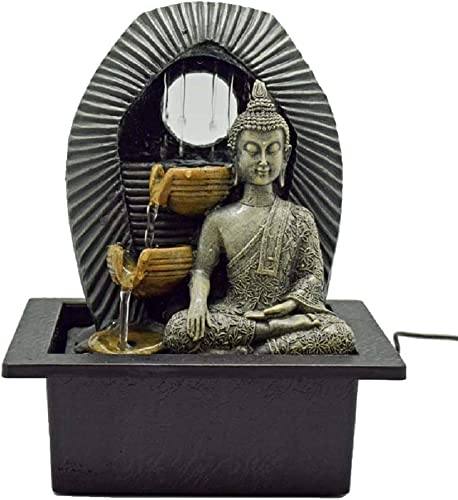 Buddha 2944 Bhumisparsha Mudra Earth Touching LED Lighted Tabletop Fountain 11 L