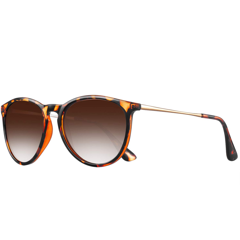 polarized sunglasses for women men - FEIDU retro womens sunglasses aviator sunglasses 4171 (2pack(green+black), 14.5) (Leopard gradient brown, 14.5) by FEIDU