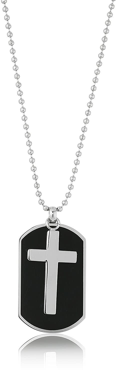 Amazon mens two piece stainless steel black resin dog tag and amazon mens two piece stainless steel black resin dog tag and cross pendant necklace 22 cross for dog tags jewelry aloadofball Gallery