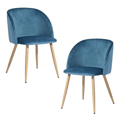 FurnitureR Juego de 2 sillas de Comedor para Cocina, sillas Laterales  Modernas de Mediados de Siglo, Silla de Comedor tapizada de Terciopelo con  Patas ...