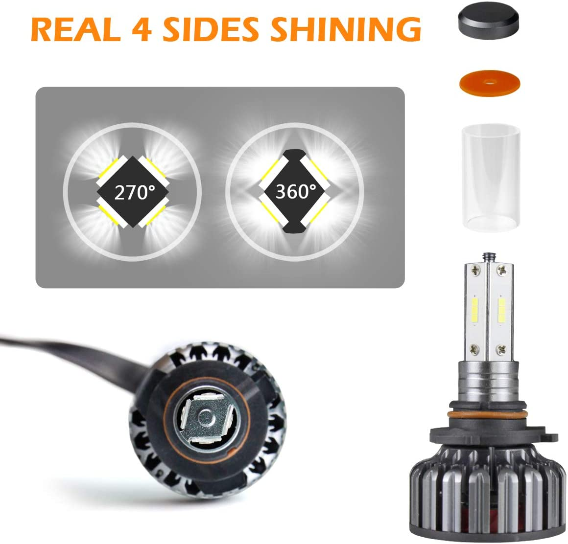 H4//9003//HB2 Hi//lo Beam Conversion Kits 96W 8000LM 4 Side CSP LED Headlignts with Fan 6000K Foglights Car Truck Driving Headlamp Replacement Adjustable Beam Pattern Ultra Bright Led Light Bulbs